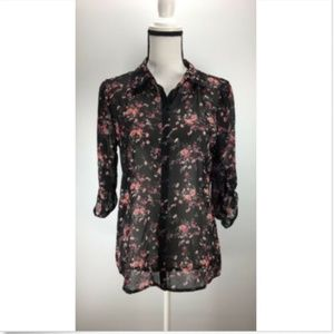 Socialite Size Small Blouse Floral Print Hi-Lo